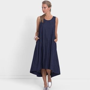 ELK denim dress sleeveless midi length with tie